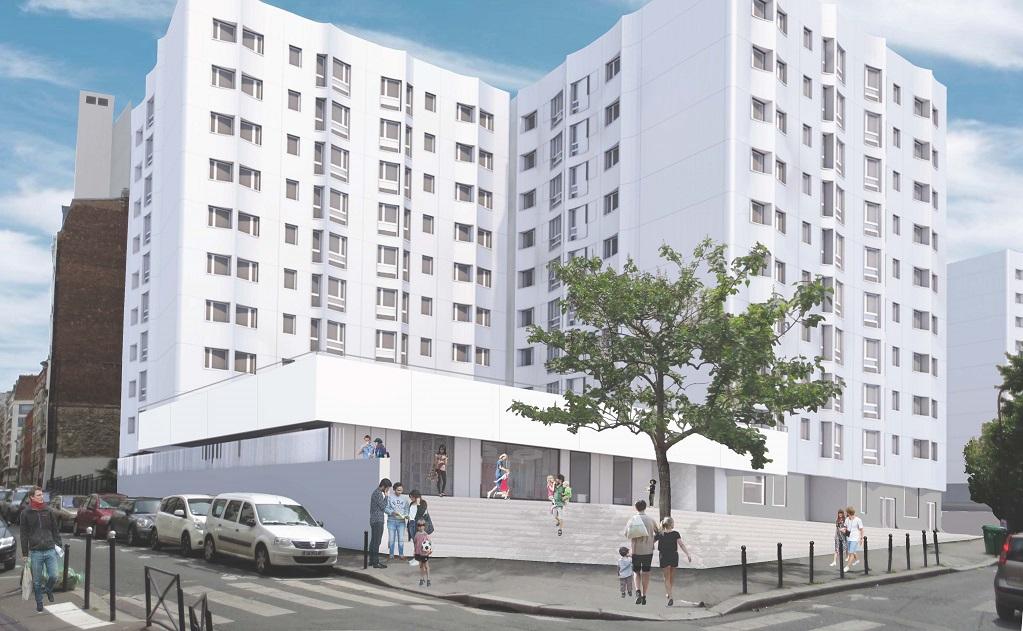 Réhabilitation plan Climat et surélévation d'une résidence de 32 logements – 1/9 rue des Rigoles- Paris 20ème